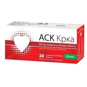 АСK при сърдечно-съдови проблеми 100 мг x30 таблетки KRKA