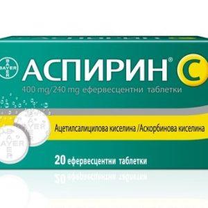 Аспирин + витамин C x20 ефервесцентни таблетки Bayer
