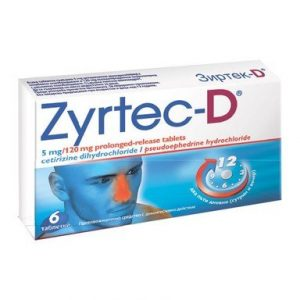 Зиртек-D при алергии 5 мг/120 мг х6 таблетки UCB Farchim