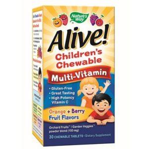 Alive Детски мултивитамини за деца за поддържане на силен имунитет х30 дъвчащи таблетки Nature's Way