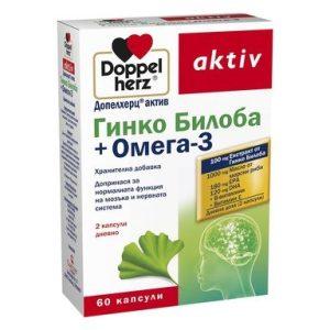 Doppelherz aktiv Гинко Билоба + Омега-3 х60 капсули